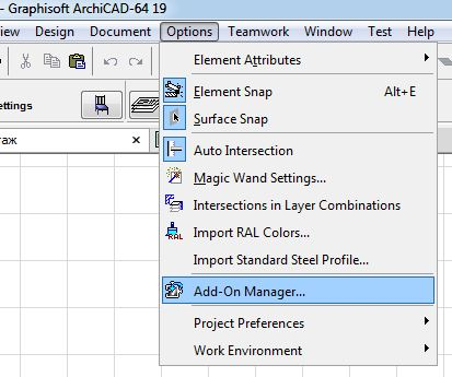 Menu item to invoke the extension Manager ARCHICAD