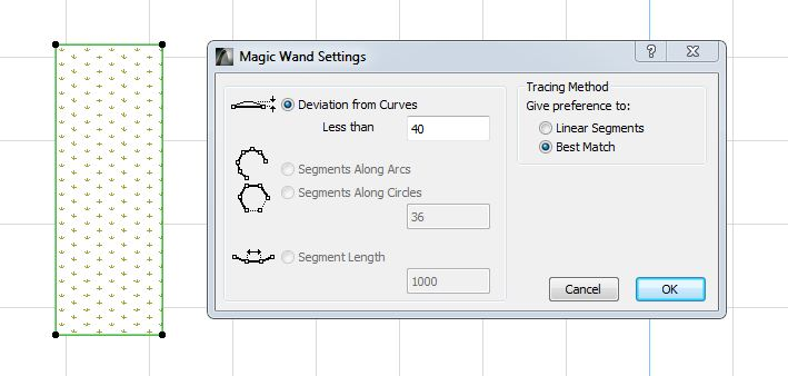 Setting the magic wand ARCHICAD