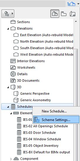 Call menu to set schedules on ARCHICAD