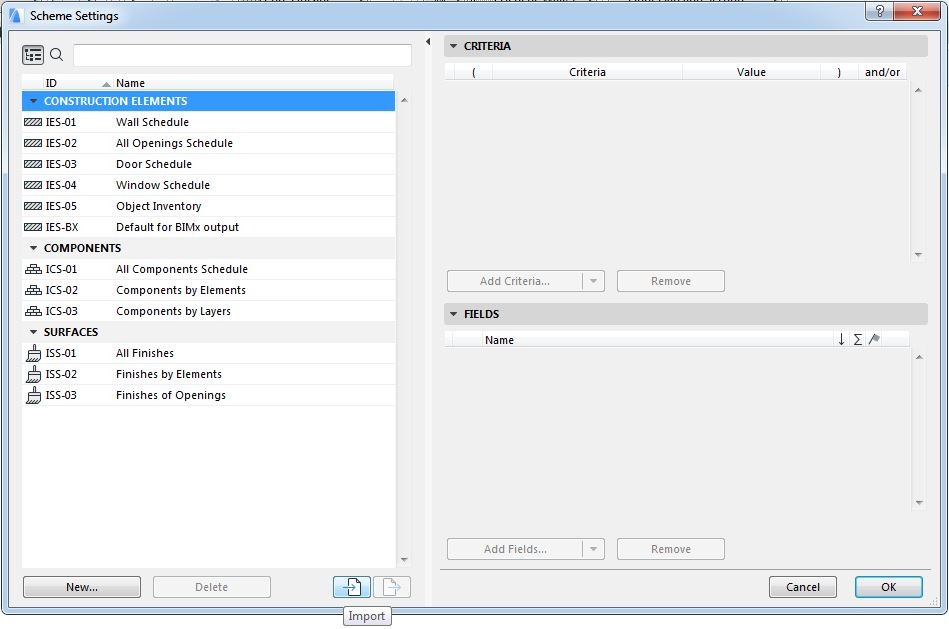 Dialog set schemes schedules on ARCHICAD