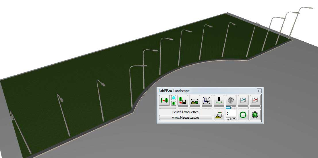 View of the sreetlights that rotated to road in ARCHICAD